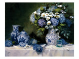 Hydrangeas & Delft Print by Hope Reis