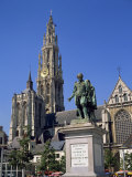 Statue of Rubens and the Cathedral on the Groen Plaats in Antwerp, Belgium, Europe Photographic Print by Richard Ashworth