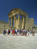 Tourists Outside Roman Ruins, Dougga, UNESCO World Heritage Site, Tunisia, North Africa, Africa Photographic Print by Julia Bayne
