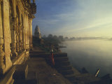 Misty Dawn on Narmada River, Bathing Ghats at Mandla, Madhya Pradesh State, India Photographic Print by David Beatty