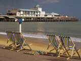 Deserted Beach and Pier Theatre, West Cliff, Bournemouth, Dorset, England, UK Photographic Print by Pearl Bucknall