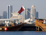 Dhows in Doha Bay and City Skyline, Doha, Qatar, Middle East Photographic Print by Charles Bowman
