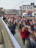 Commuter Crowd Crossing Bridge, City of London, London, England, United Kingdom, Europe Photographic Print by Julia Bayne