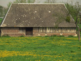 Half Timbered Farm Building Near Pont Audemer, Marais Vernier, Haute Normandie, France Photographic Print by Michael Busselle