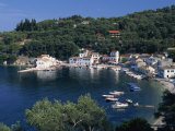 Aerial View over Loggos Harbour, Paxos, Ionian Islands, Greek Islands, Greece, Europe Photographic Print by Julia Bayne