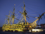 Hms Victory at Night, Portsmouth Dockyard, Portsmouth, Hampshire, England, United Kingdom, Europe Photographic Print by Jean Brooks