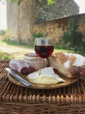 Still Life of Picnic Meal on Top of a Wicker Basket, in the Dordogne, France Photographic Print by Michael Busselle