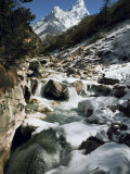 Mountain Stream and Peaks Beyond, Himalayas, Nepal Photographic Print by David Beatty
