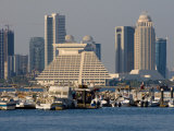 Doha Bay and City Skyline, Doha, Qatar, Middle East Photographic Print by Charles Bowman