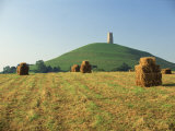 Harvested Fields before Glastonbury Tor, Somerset, England, United Kingdom, Europe Photographic Print by Rob Cousins