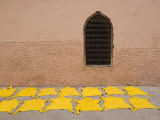 Dyed Leather Hides Drying in Street in the Souk, Medina, Marrakech, Morocco, North Africa, Africa Photographic Print by Martin Child