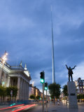 Monument of Light, and Jim Larkin Statue in the Evening, Dublin, Republic of Ireland Photographic Print by Martin Child
