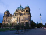 Berliner Dom Cathedral at Dusk with Fernsehturm, Telespargel Beyond, Berlin, Germany Photographic Print by Martin Child