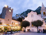 Evening, Piazza Ix Aprile, Torre Dell Orologio, Church of San Giuseppe, Taormina, Sicily, Italy Photographic Print by Martin Child