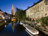 Canal in the Evening and Church of Our Lady, Bruges, Belgium, Europe Photographic Print by Martin Child