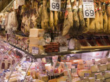 Hams, Jamon and Cheese Stall, La Boqueria, Market, Barcelona, Catalonia, Spain, Europe Photographic Print by Martin Child