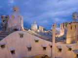 Chimneys and Rooftop, Casa Mila, La Pedrera in the Evening, Barcelona, Catalonia, Spain, Europe Photographic Print by Martin Child