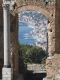 Greek Theatre and View of Giardini Naxos, Taormina, Sicily, Italy, Europe Photographic Print by Martin Child