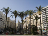 Plaza Ayuntamiento, Palm Trees, Buildings, Valencia, Mediterranean, Costa Del Azahar, Spain, Europe Photographic Print by Martin Child