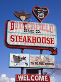Butterfield Steakhouse Sign, Holbrook City, Route 66, Arizona, USA Photographic Print by Richard Cummins