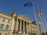Eu and German National Flags Flying Outside the Reichstag Parliament Building, Berlin, Germany Photographic Print by Neale Clarke