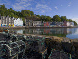 Multicoloured Houses, and Lobster Pots on the Jetty, Tobermory, Balamory, Mull, Scotland Photographic Print by Neale Clarke