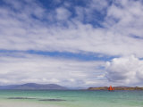 Boat with Red Sails Off Traigh Bhan Beach, Iona, Sound of Iona, Scotland, United Kingdom, Europe Photographic Print by Neale Clarke