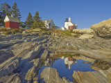 Pemaquid Lightouse and Fishermans Museum, Pemaquid Point, Maine, USA Photographic Print by Neale Clarke