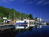 Tranquil Scene of Boats Reflected in Still Water on the Crinan Canal, Crinan, Strathclyde, Scotland Photographic Print by Kathy Collins