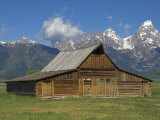 Moulton Barn on with the Grand Tetons Range, Grand Teton National Park, Wyoming, USA Photographic Print by Neale Clarke
