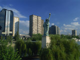 France's Own Statue of Liberty, and City Skyline, Port De Javel, Paris, France, Europe Photographic Print by Kathy Collins