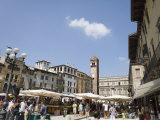 Market in Piazza Delle Erbe, Verona, Veneto, Italy, Europe Photographic Print by Martin Child