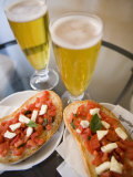 Snack of Beer and Bruschetta in Cafe, Siena, Tuscany, Italy, Europe Photographic Print by Martin Child