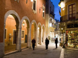 Locals in Street at Night, Taormina, Sicily, Italy, Europe Photographic Print by Martin Child
