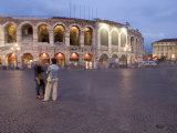 Piazza Bra, Roman Arena at Dusk, Verona, Veneto, Italy, Europe Photographic Print by Martin Child