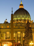 St. Peter's Basilica at Christmas Time, Vatican, Rome, Lazio, Italy, Europe Photographic Print by Marco Cristofori