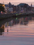 River Liffey at Dusk, Ha'Penny Bridge, Dublin, Republic of Ireland, Europe Photographic Print by Martin Child