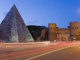 Cestia Pyramid and St. Paul Gate, Rome, Lazio, Italy, Europe Photographic Print by Marco Cristofori