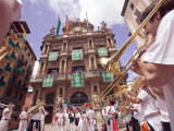Clubs Parade, San Fermin Festival, and City Hall Building, Pamplona, Navarra, Spain, Europe Photographic Print by Marco Cristofori