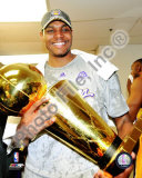 Andrew Bynum Game Five of the 2009 NBA Finals With Championship Trophy Photo