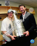 Sidney Crosby & Mario Lemieux Game 7 - 2008-09 NHL Stanley Cup Finals With Trophy Photo