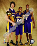 Pau Gasol, Kobe Bryant, &amp; Lamar Odom Game 5 - 2009 NBA Finals With Championship Trophy (31) Photo