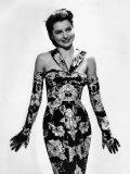 Cyd Charisse Modeling Flowered Evening Dress and Matching Gloves, c.1947 Poster