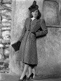 Priscilla Lane Modeling Houndstooth Coat, 1939 Print