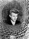 James Dean Peeking Through a Spiral of Chicken Wire, Mid-1950s Photo
