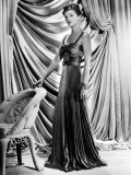 Myrna Loy Wearing Green and Yellow Gold Pleated Metallic Evening Gown, 1938 Prints