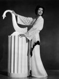 Kay Francis Modeling White-Crepe Lounging Robe with Crimson Trim, 1937 Prints