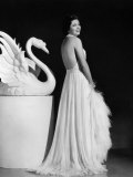Kay Francis Modeling White Chiffon Evening Gown, 1937 Print