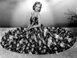 Carole Landis Modeling Seersucker Evening Gown in Seafoam with Accents of Pique 1940 Prints