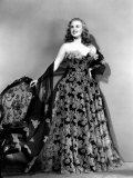 Deanna Durbin in Hoop Skirt Styled Lace Fabric Flowered Evening Dress Designed by Howard Greer Prints